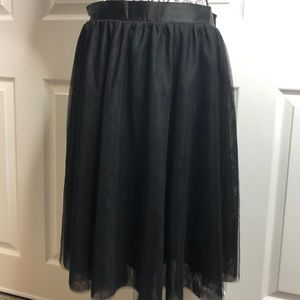 ModCloth Black Tulle Lace Full Elastic Waist L